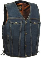 Milwaukee Leather Mens Denim Side Lace Vest with Chest Pockets
