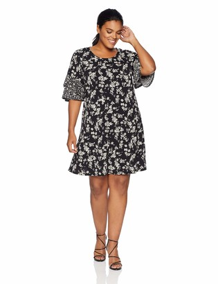 Karen Kane Women's Plus Size Contrast Print Ruffle Sleeve Dress