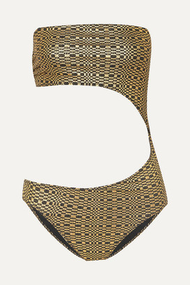 Lisa Marie Fernandez Cutout Metallic Seersucker Bandeau Swimsuit - Gold