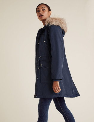 Marks and Spencer Textured Waisted Parka Coat