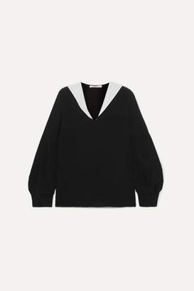 Givenchy Two-tone Silk-crepe Blouse - Black