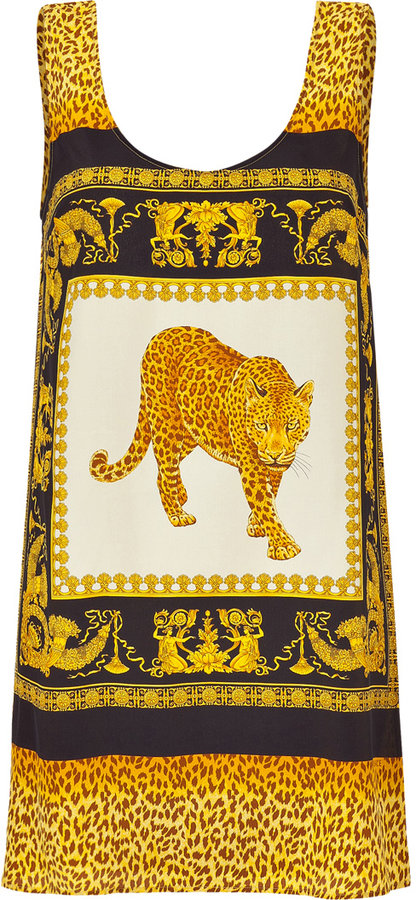 Thumbnail for your product : Versace Mustard Animal Print Mini-Dress