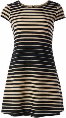 Tiana B T I A N A B. Women's Petite Variegated Striped Textured Knit Trapeze Dress Cap Sleeveless