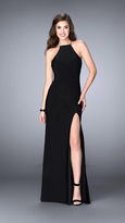 La Femme Elegant Beaded High Neck Jersey Dress 23962