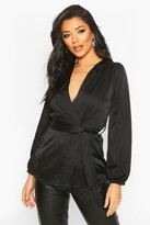 boohoo Satin Wrap Front Blouse