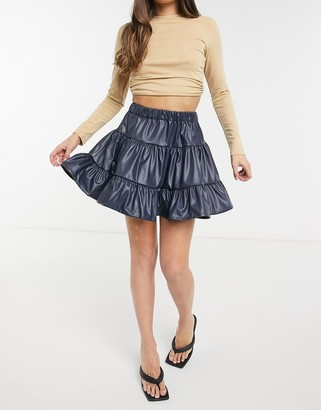 ASOS DESIGN leather look tiered mini skirt in petrol blue