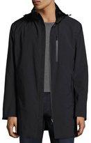 Armani Collezioni Hooded Zip-Front 3/4-Length Coat, Black