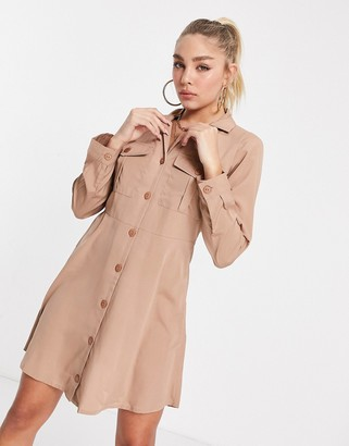 I SAW IT FIRST pocket front shirt dress in pink