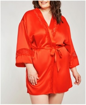 iCollection-Miaya Satin Cut Out Laced Trimmed Lounge Robe