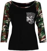 Susenstone Women Camouflage Printed Long Sleeve T-shirt Blouse (M)