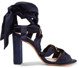 Alexandre Birman Alessa Lace-up Satin And Suede Sandals - Midnight blue