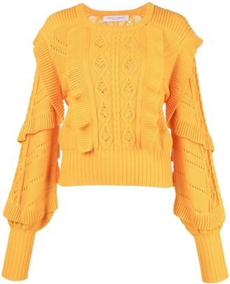 Carolina Herrera Cable Stitch Ruffled Sweater