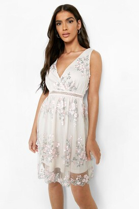 boohoo Occasion Floral Embroidery Wrap Skater Dress