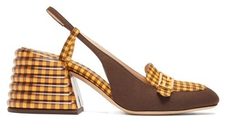 Fendi Promenade Slingback Gingham And Suede Pumps - Womens - Yellow Multi