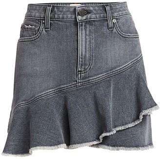 Alice + Olivia Flounce Denim Mini Skirt