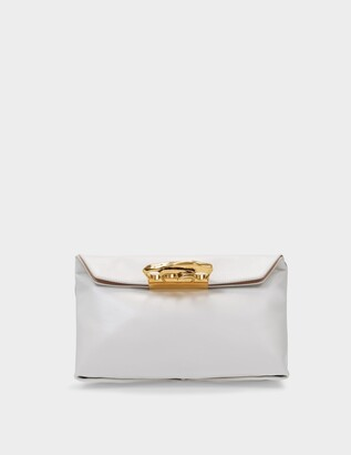 Alexander McQueen Sculptural Pouch in White Smooth Leather