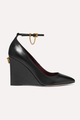 Valentino Garavani Ringstud 100 Glossed-leather Wedge Pumps - Black