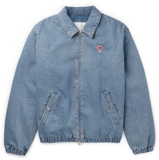 Ami Logo-Appliqued Denim Bomber Jacket