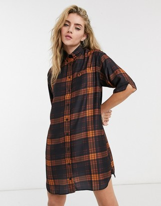 Fred Perry tartan oversized shirt dress in navy and orange