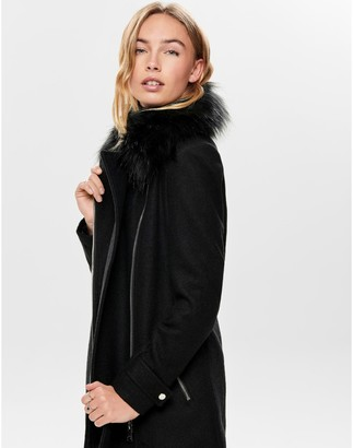 Only Asymmetric Zip Coat with Faux Fur Collar Hood and Pockets