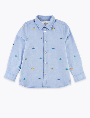 Marks and Spencer Cotton Embroidered Dinosaur Shirt (2-7 Years)