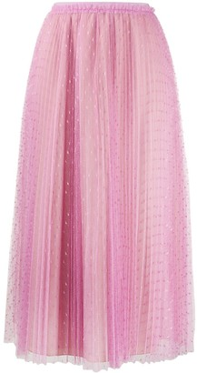 RED Valentino Tulle Point D'esprit Pleated Skirt