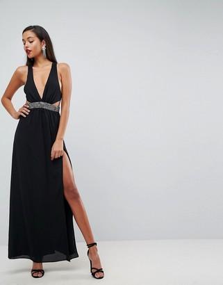 Asos Design Embellished Waist Strap Back Maxi Dress-Black