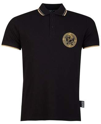 Versace Tipped Slim Fit Polo Shirt Colour: BLACK, Size: