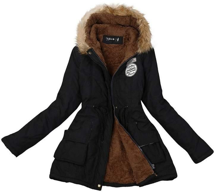 XUANOU Women Vintage Large Lapel Handsome PU Leather Zipper Jacket Coat