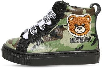 Moschino Camouflage Leather High Sneakers