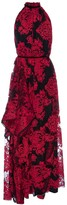 Lahive Marcella Red Embroidered Halter Lace Gown
