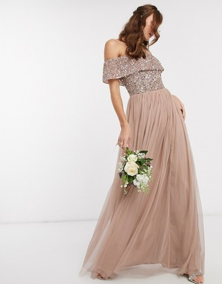 Maya Bridesmaid bardot maxi tulle dress with tonal delicate sequins in taupe blush