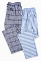 Next Blue Check/stripe Woven Long Bottoms Two Pack