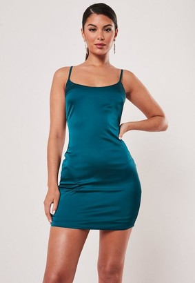 Missguided Petite Teal Stretch Satin Bodycon Mini Dress