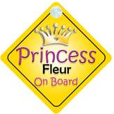 mybabyonboard UK Princess Fleur On Board Girl Car Sign Child/Baby Gift/Present 002