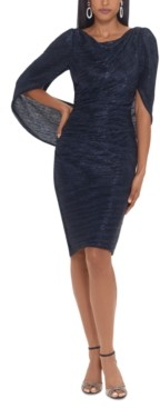 Betsy & Adam Metallic Cape-Back Sheath Dress