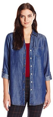Foxcroft Women's Long Sleeve Fay with Accent Trim Denim Tenceltunic