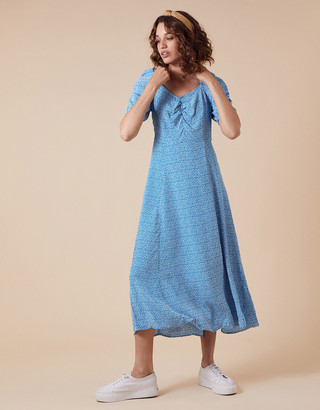 Monsoon Freddy Ditsy Floral Midi Dress in Sustainable Viscose Blue