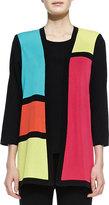 Misook Rosalie 3/4-Sleeve Colorblock Cardigan, Petite