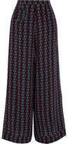 Etro Printed Silk-chiffon Wide-leg Pants - Black
