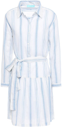 Melissa Odabash Amelia Striped Cotton-gauze Mini Shirt Dress