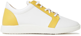 Giuseppe Zanotti Two-tone Smooth And Pebbled-leather Sneakers