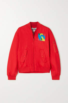 Moschino Appliqued Shell Bomber Jacket - Red