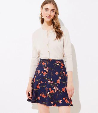 LOFT Petite Floral Ponte Flippy Skirt