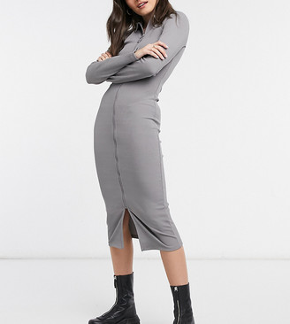 Collusion long sleeve midi zip-front dress in grey