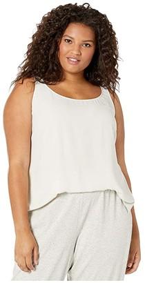 Eileen Fisher Plus Size Silk Georgette Crepe Scoop Neck Tank Top (Bone) Women's Clothing