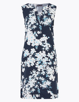 Marks and Spencer Linen Blend Floral Notch Neck Shift Dress