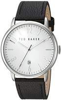 Ted Baker Men's 'Modern Vintage' Quartz Stainless Steel and Leather Dress Watch, Color:Black (Model: 10030650)