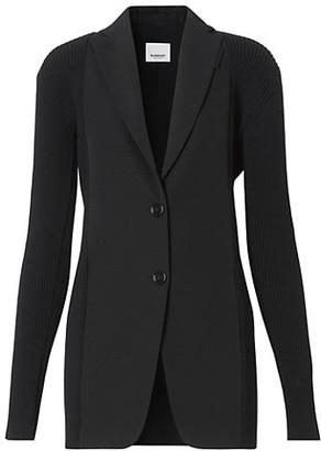 Burberry Ribbed Panel Wool Blazer Jacket