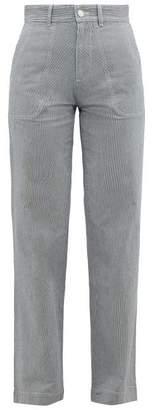 A.P.C. High-rise Striped Cotton-blend Trousers - Womens - Blue Stripe
